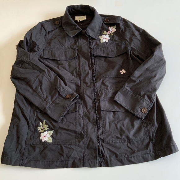 NEW Kate Spade Broome Street Floral Army Jacket L